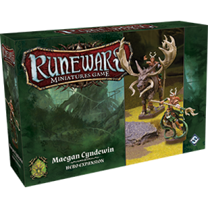 Front cover of the box of RuneWars Maegan Cyndewin Unit Expansion