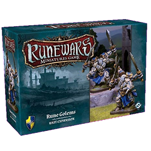 Front cover of the box of RuneWars Rune Golems Unit Expansion