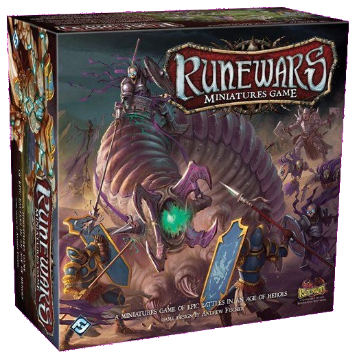 Front cover of the box of RuneWars The Miniatures Game