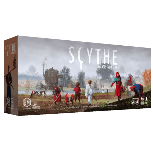 Front cover of the box of Scythe: Invaders from Afar