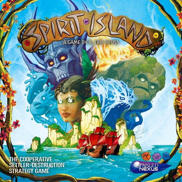 Front cover of the box of Spirit Island