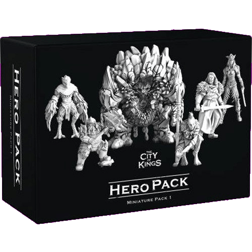 Front cover of the box of The City of Kings Hero Pack