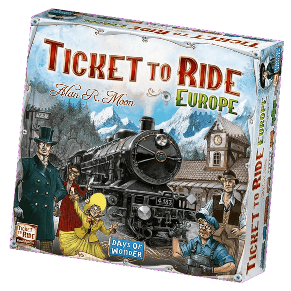 Front cover of the box of Ticket to Ride: Europe