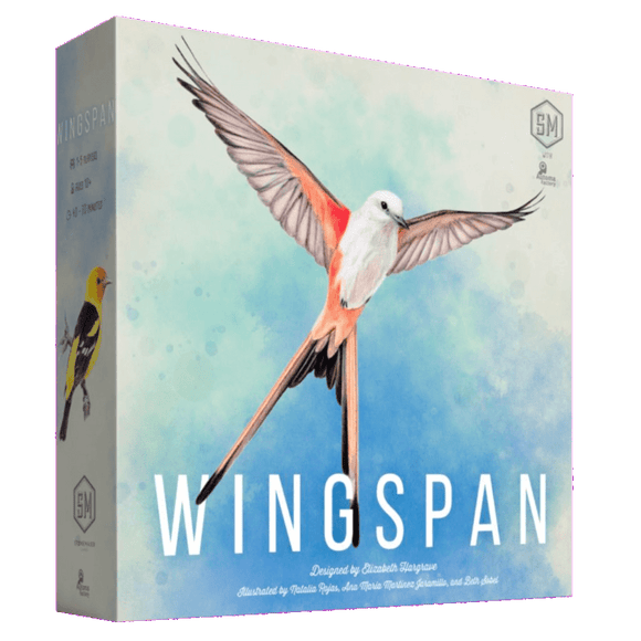 Front cover of the box of Wingspan