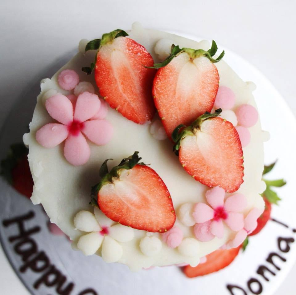 Strawberry Blossoms Drip Cake