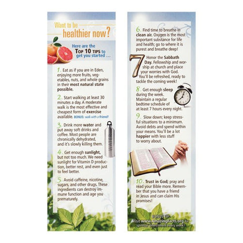 10 Health Tips Bookmark (25/Pack) by Amazing Facts