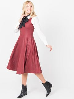 Fit n Flare Dress (FISHER) FAUX LEATHER OXBLOOD