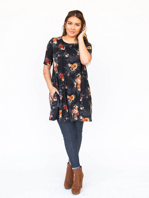 Swing Tunic Black Vintage Floral