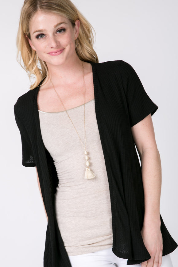 Short Sleeve Cardigan - Black