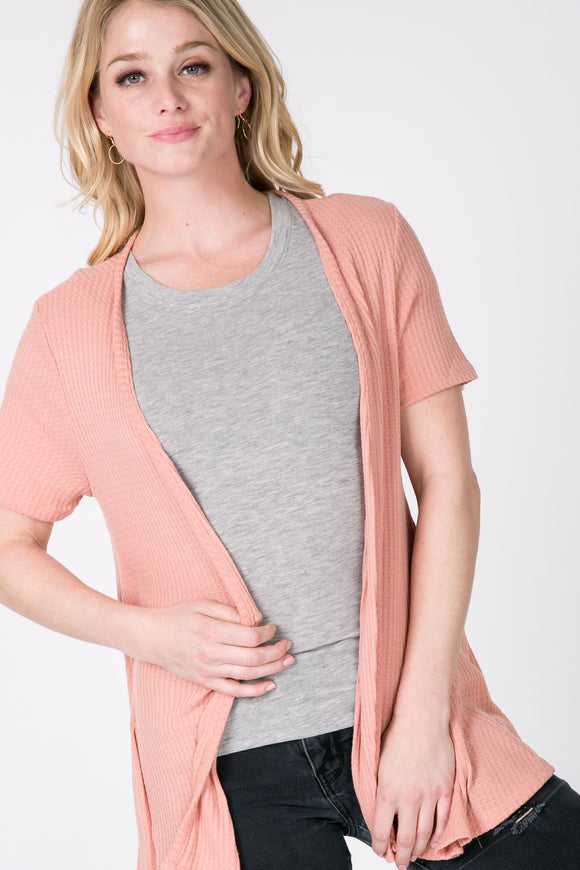 Short Sleeve Cardigan - Peach