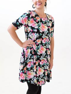 Swing Tunic Black Floral