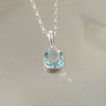 Load image into Gallery viewer, Gem Squared Silver Blue Topaz Pendant