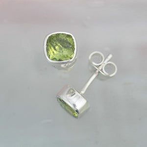 Gem Squared Peridot and Silver Stud Earrings