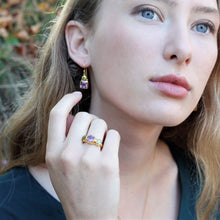 Load image into Gallery viewer, Amethyst & Peridot Gold Vermiel Ring