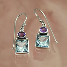Load image into Gallery viewer, Lilac Blue Topaz & Amethyst Silver Drop Earrings