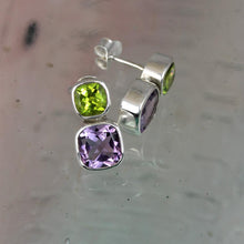 Load image into Gallery viewer, Amethyst & Peridot Silver Iris Stud Earrings