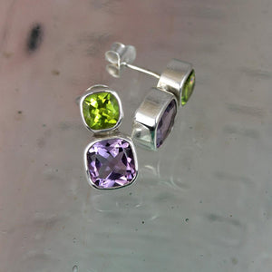 Amethyst & Peridot Silver Iris Stud Earrings