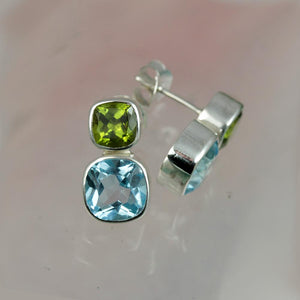 Christin Ranger Forget-Me-Not Blue Topaz & Peridot Silver Stud Earrings