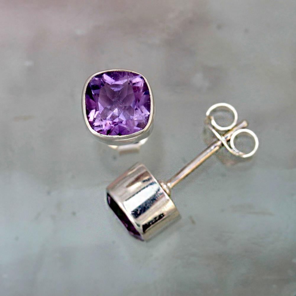 Gem Squared Amethyst and Silver Stud Earrings