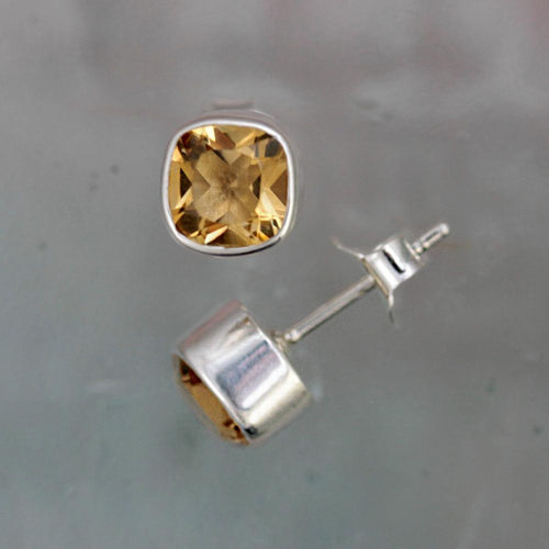 Gem Squared Citrine and Silver Stud Earrings
