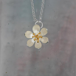 Water Lily Silver & Gold Pendant