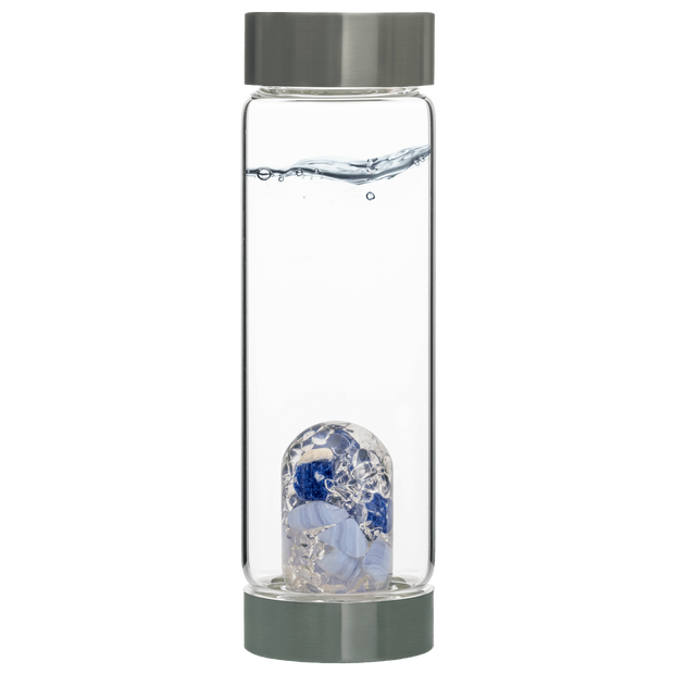Via BALANCE Gem Water Bottle  - SODALITE // CHALCEDONY // CLEAR QUARTZ
