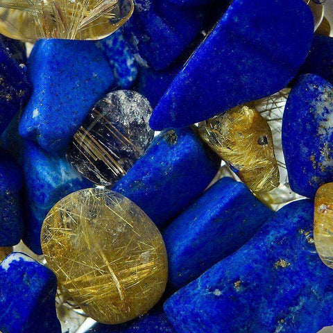 Via Gem Water Bottle - Inspiration/ LAPIS LAZULI // RUTILATED QUARTZ