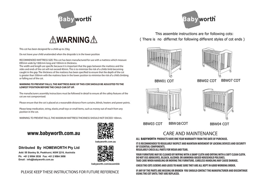 Babyworth Cot Assemble Instructions Based on Cot Ends Assembled