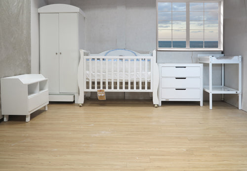 Babyworth Sleigh Cot & Mattress & Change Table &Pad & Chest & Robe & Toybox Package Deal