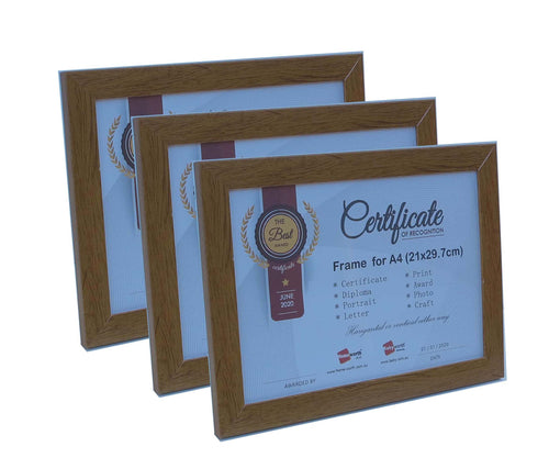 Picture Frame For Photo / Picture / Certificate  Size A4 ( 21x29.7 cm ) X3 Timber Color