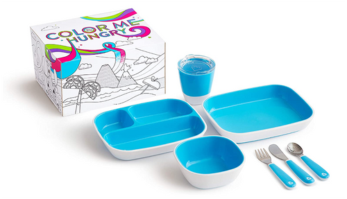 Munchkin Color Me Hungry Splash 7pc Toddler Dining Set – Plate, Bowl, Cup, and Utensils in a Gift Box