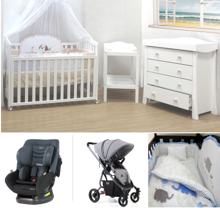 Babyworth B2 Cot+Change Table+Chest+Car Seat+Pram+Bedding Deal