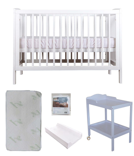Grotime  DAINTY Cot  Baby Bed with Mattress and Change Table with Pad