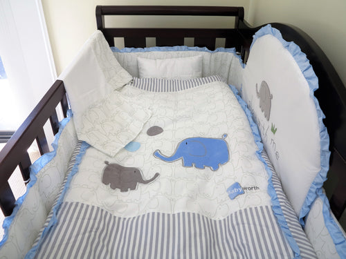 Babyworth Cot Bedding Set With Blanket & Sheets & Bumper & Pillar Blue
