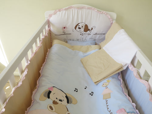 Babyworth Cot Bedding Set With Blanket & Sheets & Bumper & Pillar Pink