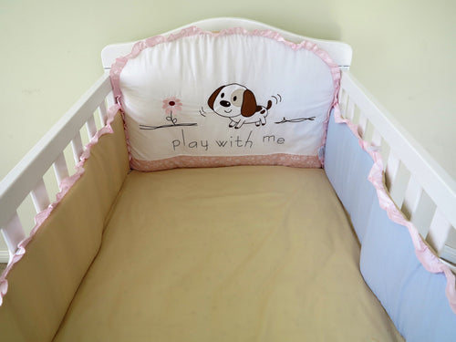 Babyworth Cot Bedding Bumper Set With Header and Sides Pink