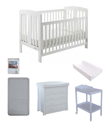 Grotime   Pearl 4-in-1 cot  Baby Bed with Mattress and Change Table & Chest White Package