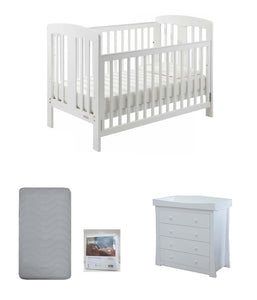 Grotime   Pearl 4-in-1 cot  Baby Bed with Mattress and  Chest White Package