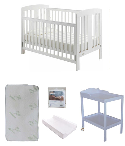 Grotime   Pearl 4-in-1 cot  Baby Bed with Mattress and Change Table White Package