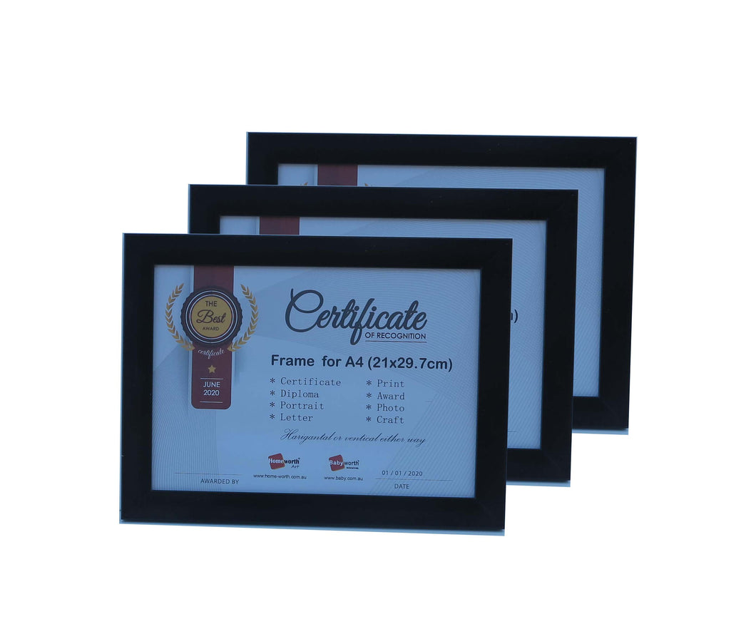 Picture Frame For Photo / Picture / Certificate  Size A4 ( 21x29.7 cm ) X3 Black