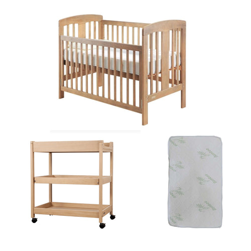 Grotime   Pearl 4-in-1 cot  Baby Bed with Mattress and Bella Change Table Honey Elm