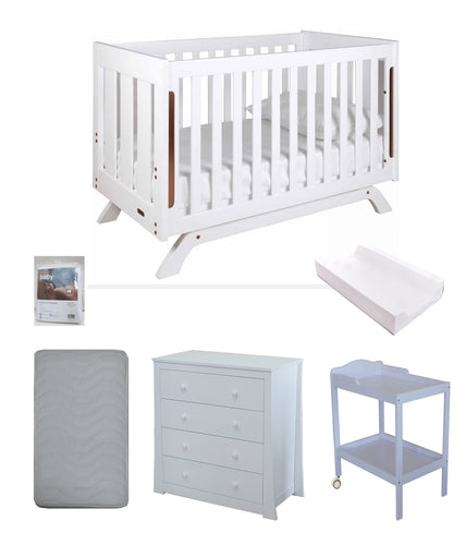 Grotime Retro Cot cot with Babyworth Mattress ,Chest and Change Table with Pad