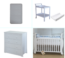 Load image into Gallery viewer, Babyworth Sleigh Cot with Mattress, Chest and Change Table with Pad Package