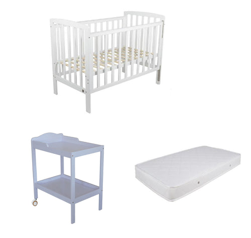 Childcare  Bristol Cot With Mattress and Change Table White with Pad Package