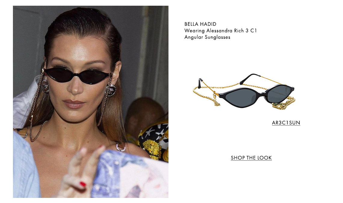 BELLA HADID Wearing Alessandra Rich 3 C1 Angular Sunglasses. AR3C1SUN