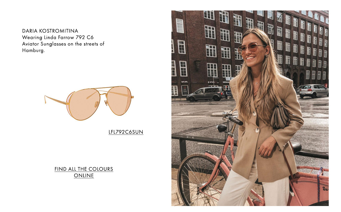 DARIA KOSTROMITINA Wearing Linda Farrow 792 C6  Aviator Sunglasses on the streets of Hamburg.