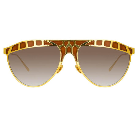 Huston Aviator Sunglasses in Yellow Gold