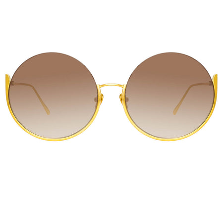 Olivia Round Sunglasses in Yellow Gold