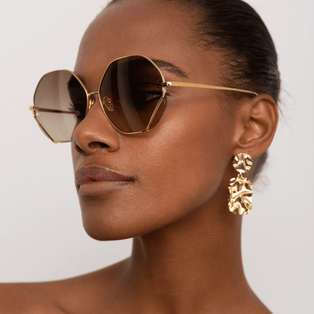 Fawcet Hexagon Sunglasses in Yellow Gold