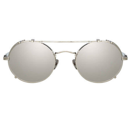 Jimi Oval Sunglasses in White Gold and Silver
